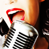 stock - red lipstick & a microphone
