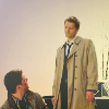 Tiptoe39: dean looks up to cas