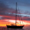 stock: boat in sunset