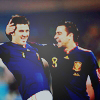 soccer - david villa & xavi - celebratin