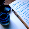 Blue writing