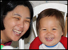 SteelyKid - grinning with Mom (2010-07)