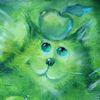 кот и зеленое яблоко