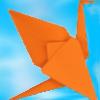 blue sky, orange paper