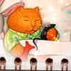 кот рыжий спящий
