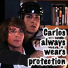 carlos wears protection