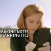 the x-files:  scully taking notes for fi