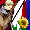 flag and sunflower