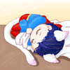 chibi superman kitty (sleeping)