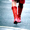 [walking red boots]