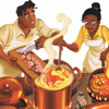 Tiana and Naveen cooking