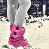 snow + pink boots + leggings
