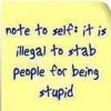 Kadysn: Illegal to stab stupid people