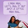 Campaspe: Leverage \\ Eliot/Hardison; man hug