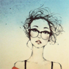 art | girl with glasses