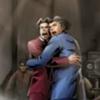 Miles and Phoenix hugging