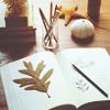 открытая книга и листик