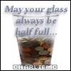 coins in glass, may your glass be half full