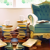 blue chair and books