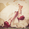 stock ↔ white dress and red heels