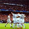 Madrid: celebration hug huddle