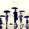 People Umbrellas BW