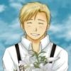 heiderich with flowers, happy