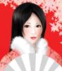Японская девушка в красном