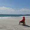 Kels red nerd on beach