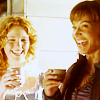 schneefink: Teyla and Sora cheerful
