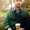 john drinking coffee
