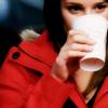 Rachel   sipping coffee