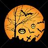 moon, Halloween - Bats, jack-o-lanterns