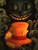 Alice in Wonderland, hat, cat, watch, painting