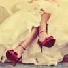 невеста, красный, туфли