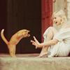 women: jump cat