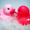 RDG: 2 pink ducks in bubbles
