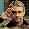 Sherlock/John saluting