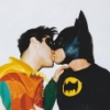 batman robin kiss