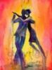 couple, fire tango, dancers, tango art