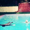 Harold upsidedown in a pool