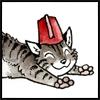 Happy/sleepy/stretching cat in fez