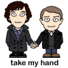 sherlock john cartoon handhold