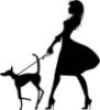 Собаки, силуэт, женщины