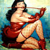 pin-up girl (dominiatrix in fishnets)