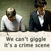 Sherlock/John - can't giggle at a crime