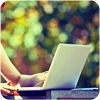 Laptop writer is writing