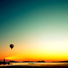 stock sunset air balloon