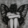suicide, blackandwhite, help, girl, butterfly