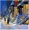 город, люди и снег